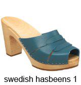 Swedish Hasbeens Turqoise Peep-toe clog