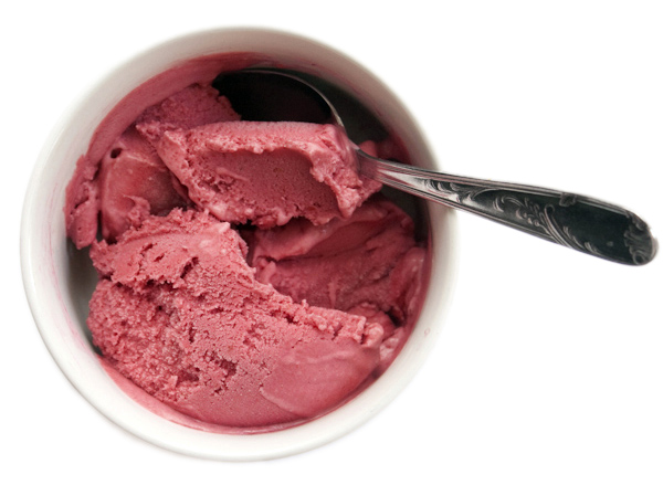 Raspberry rum coconut ice cream