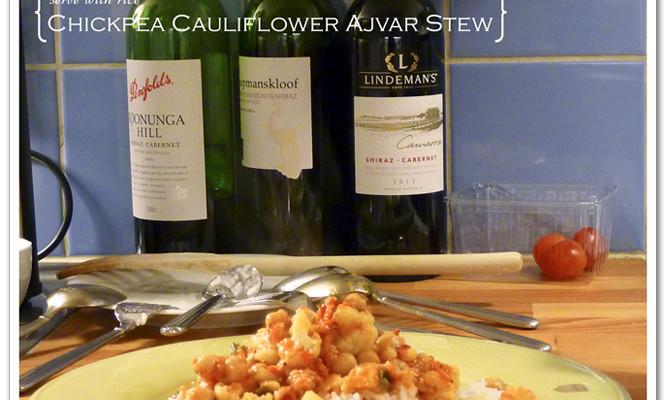 Vegan Chickpea Cauliflower Stew with Ajvar Relish