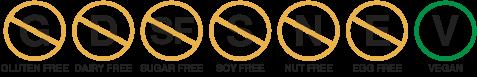 gluten free, dairy free, sugar free, soy free, nut free, egg free, vegan