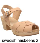 Swedish Hasbeens Nude Peep-toe clogs