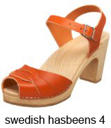 Swedish Hasbeens Orange Peep-toe clogs