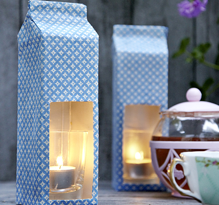 Milk carton candle holder